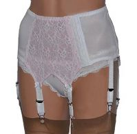 6 Strap Lace Front Suspender Belt in Black/Red or White/Pink
